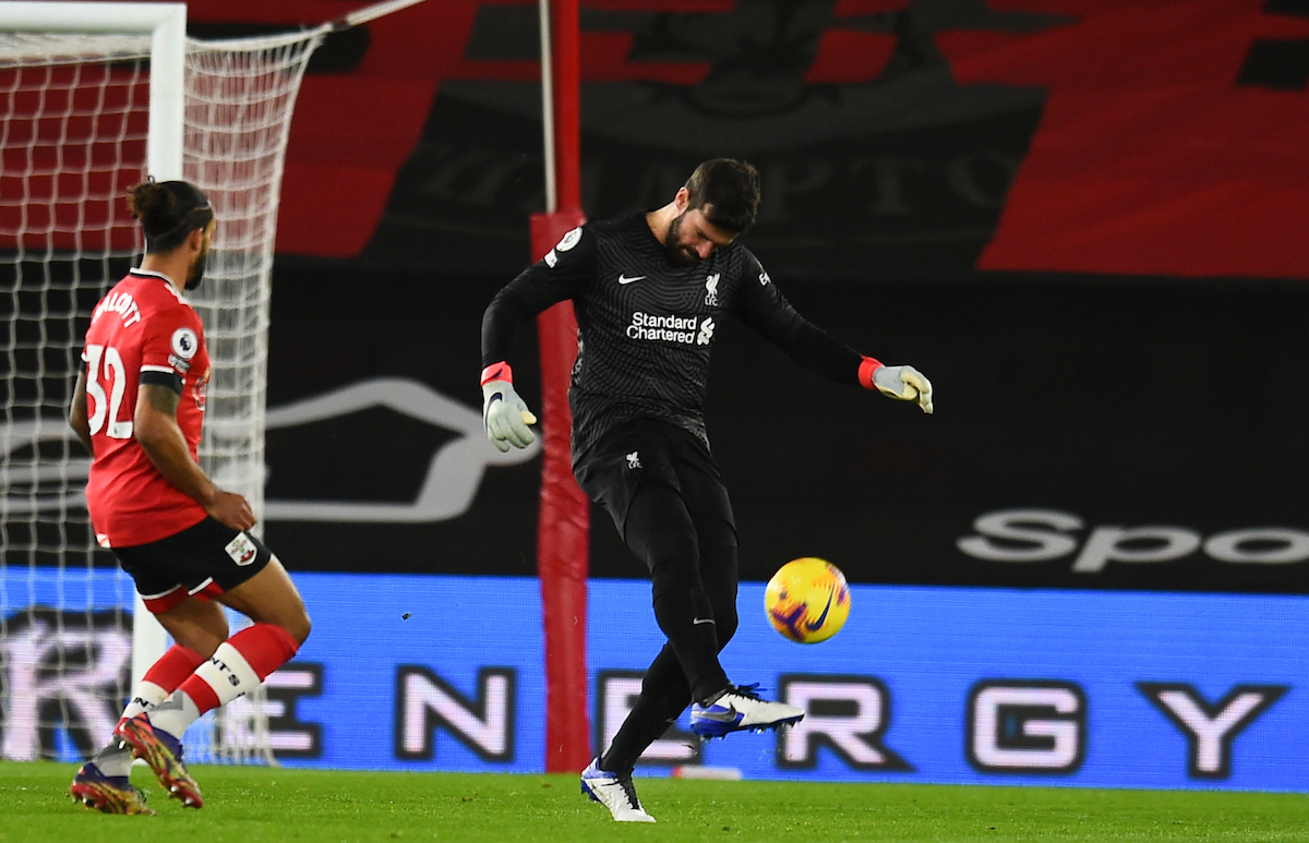Liverpool's goalkeeper Alisson Becker during the FA Premier League match between Southampton FC and Liverpool FC at St Mary's Stadium