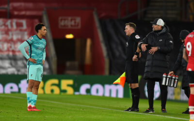 Liverpool's manager Jürgen Klopp and Trent Alexander-Arnold during the FA Premier League match between Southampton FC and Liverpool FC at St Mary's Stadium