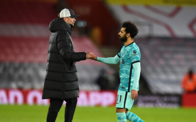 Liverpool's manager Jürgen Klopp and Mohamed Salah after the FA Premier League match between Southampton FC and Liverpool FC at St Mary's Stadium