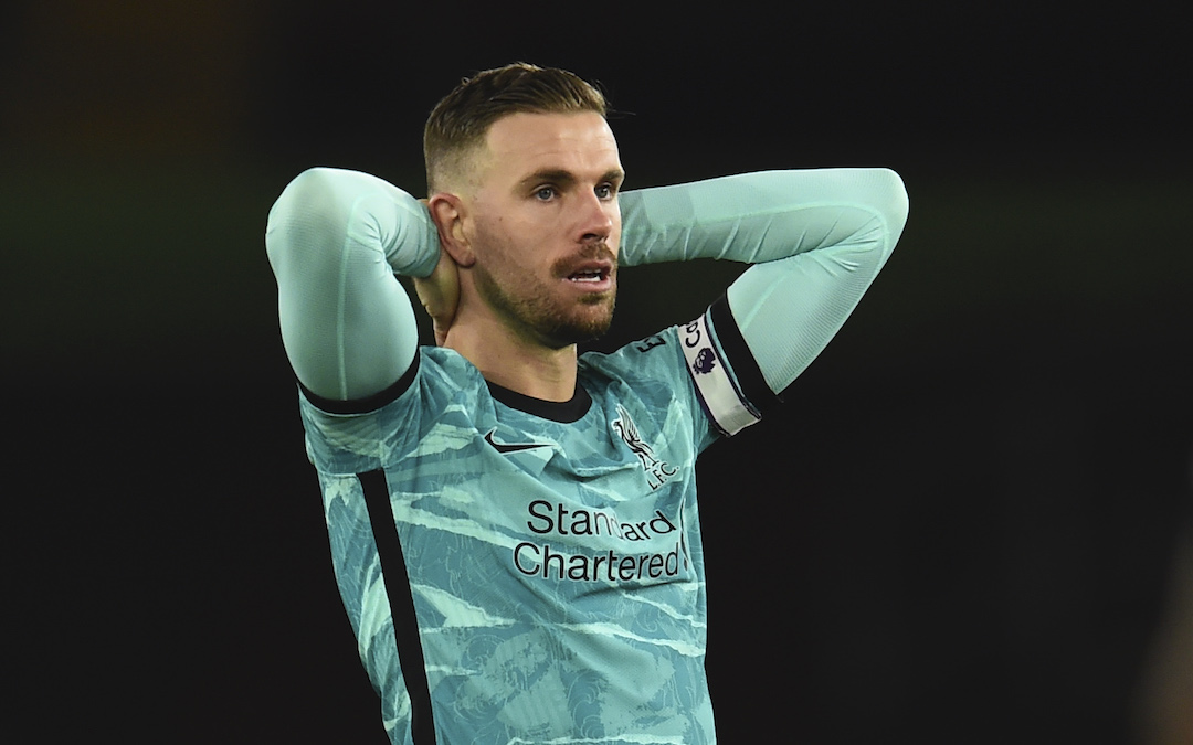 Liverpool's captain Jordan Henderson looks dejected during the FA Premier League match between Southampton FC and Liverpool FC at St Mary's Stadium