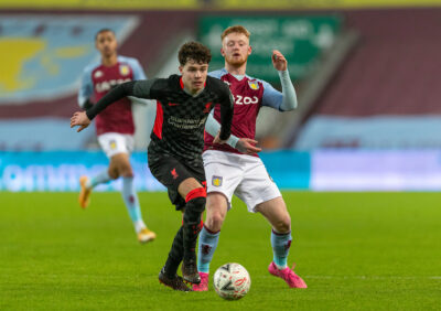 Liverpool's Neco Williams (L) and Aston Villa's substitute Bradley Young during the FA Cup 3rd Round match between Aston Villa FC and Liverpool FC at Villa Park