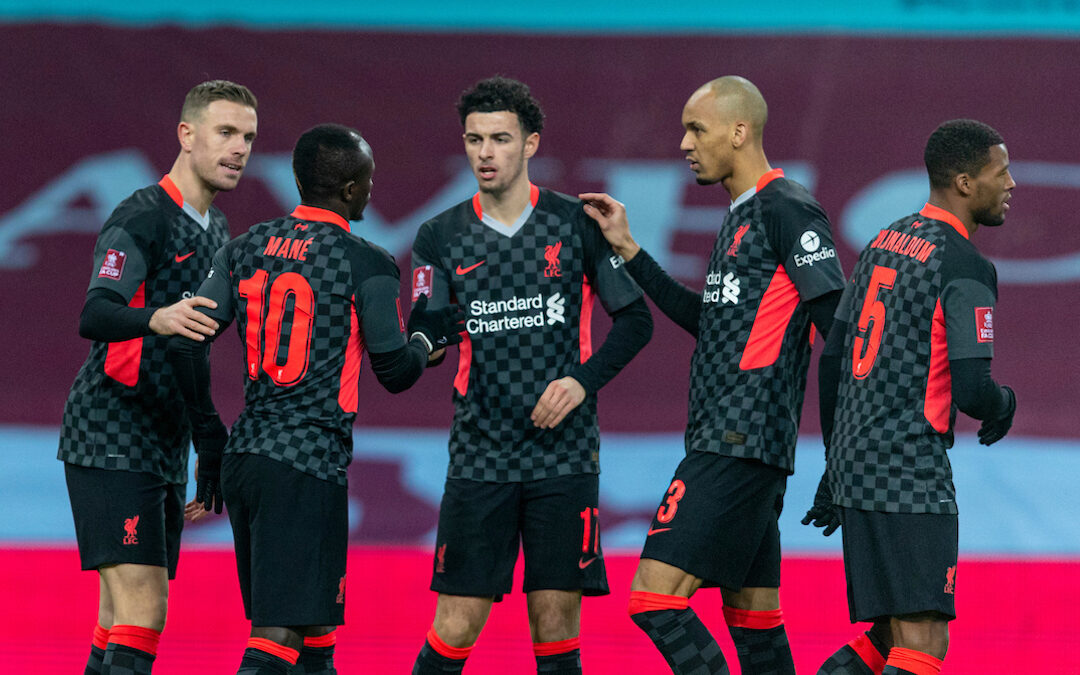 Liverpool's Sadio Mané celebrates after scoring the first goal with team-mates during the FA Cup 3rd Round match between Aston Villa FC and Liverpool FC at Villa Park