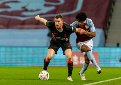 Liverpool's James Milner (L) and Aston Villa's Kaine Hayden during the FA Cup 3rd Round match between Aston Villa FC and Liverpool FC at Villa Park