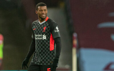 Liverpool's Georginio Wijnaldum celebrates after scoring the second goal during the FA Cup 3rd Round match between Aston Villa FC and Liverpool FC at Villa Park