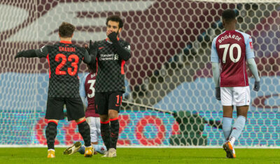 Liverpool's Mohamed Salah (R) celebrates after scoring the fourth goal with team-mate Xherdan Shaqiri during the FA Cup 3rd Round match between Aston Villa FC and Liverpool FC at Villa Park