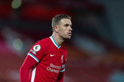 Liverpool's captain Jordan Henderson during the FA Premier League match between Liverpool FC and Manchester United FC at Anfield