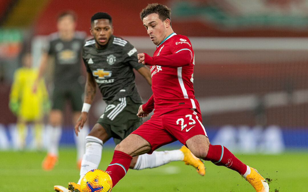 Liverpool's Xherdan Shaqiri during the FA Premier League match between Liverpool FC and Manchester United FC at Anfield