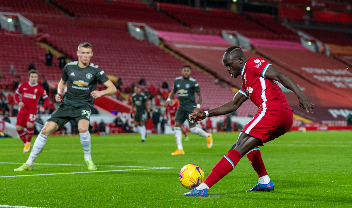 Liverpool's Sadio Mané during the FA Premier League match between Liverpool FC and Manchester United FC at Anfield