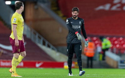 Liverpool's goalkeeper Alisson Becker looks dejected as his side lose 1-0 after he conceded a penalty during the FA Premier League match between Liverpool FC and Burnley FC at Anfield