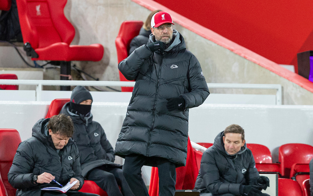 Liverpool's manager Jurgen Klopp during the FA Premier League match between Liverpool FC and Burnley FC at Anfield