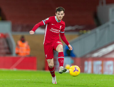 Liverpool's Andy Robertson during the FA Premier League match between Liverpool FC and Burnley FC at Anfield