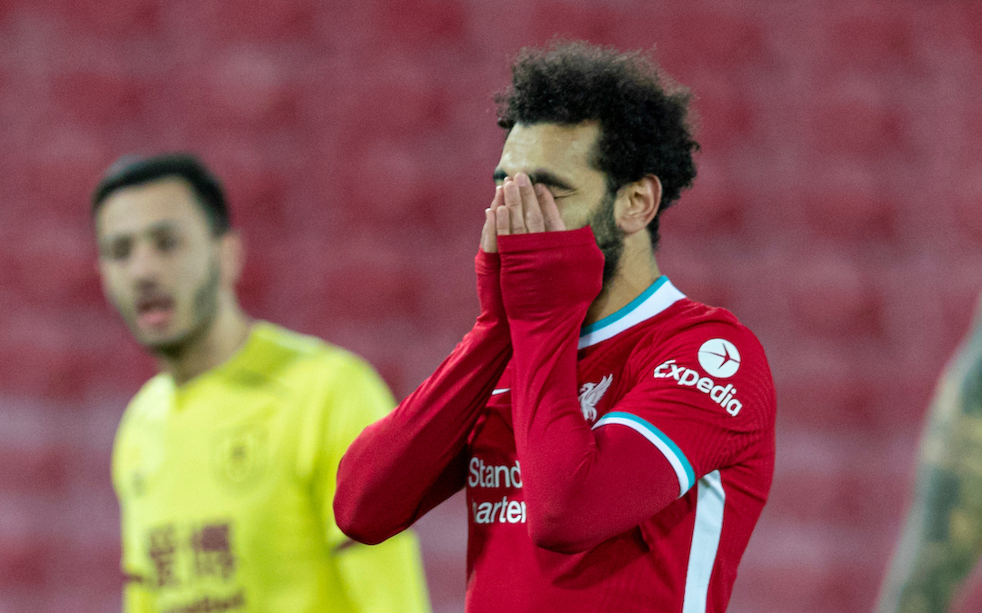 Liverpool's Mohamed Salah looks dejected after missing a chance during the FA Premier League match between Liverpool FC and Burnley FC at Anfield