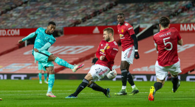 Liverpool's Georginio Wijnaldum shoots during the FA Cup 4th Round match between Manchester United FC and Liverpool FC at Old Trafford