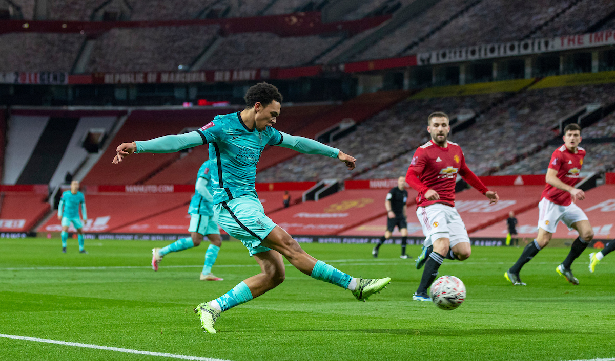 Liverpool's Trent Alexander-Arnold during the FA Cup 4th Round match between Manchester United FC and Liverpool FC at Old Trafford