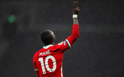 Liverpool's Sadio Mané celebrates after scoring the third goal during the FA Premier League match between Tottenham Hotspur FC and Liverpool FC at the Tottenham Hotspur Stadium