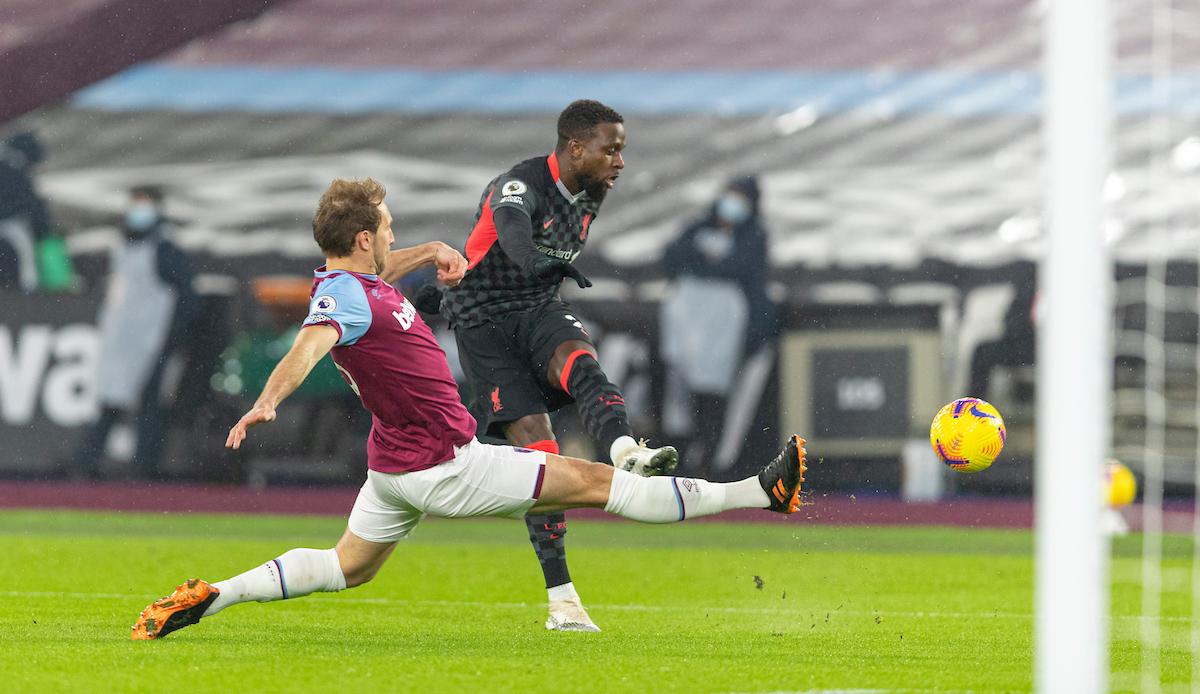 Liverpool's Divock Origi shoots during the FA Premier League match between West Ham United FC and Liverpool FC at the London Stadium