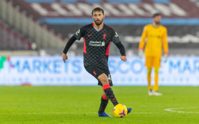 Liverpool's Nathaniel Phillips during the FA Premier League match between West Ham United FC and Liverpool FC at the London Stadium