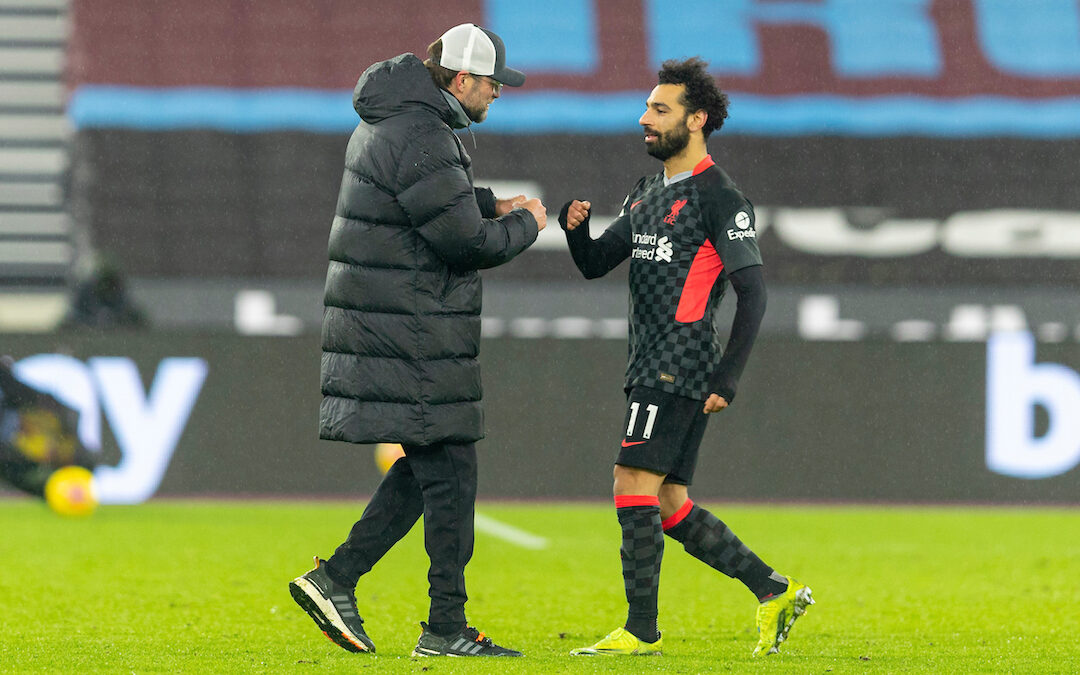 Liverpool's manager Jürgen Klopp (L) and Mohamed Salah after the FA Premier League match between West Ham United FC and Liverpool FC at the London Stadium