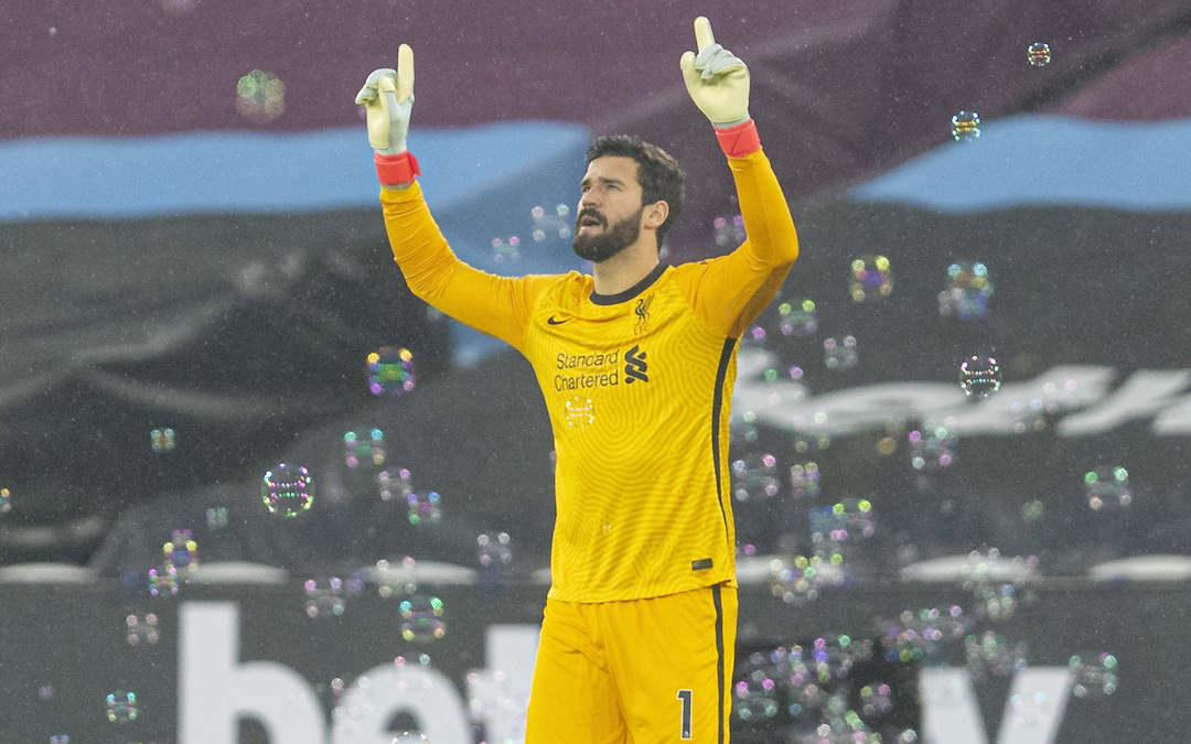 Liverpool's goalkeeper Alisson Becker walks out before the FA Premier League match between West Ham United FC and Liverpool FC at the London Stadium