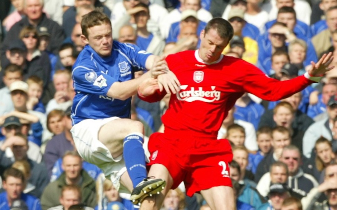 Liverpool's Jamie Carragher and Everton's Wayne Rooney during the Merseyside Derby Premiership match at Goodison Park