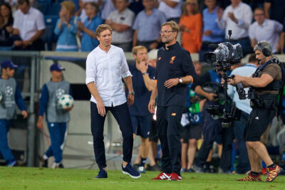 Liverpool's manager Jürgen Klopp and RB Leipzig's head coach Julian Nagelsmann in the UEFA Champions League