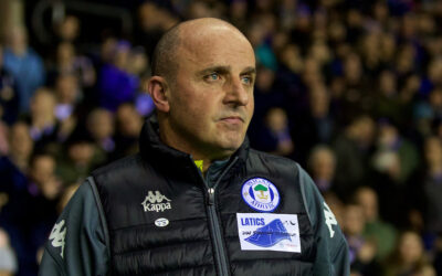 Former Wigan Athletic manager Paul Cook during the FA Cup 5th Round match between Wigan Athletic FC and Manchester City FC at the DW Stadium