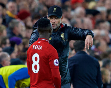Liverpool's manager Jürgen Klopp prepares to bring on substitute Naby Keita during the FA Premier League match between Liverpool FC and Everton FC at Anfield, the 232nd Merseyside Derby