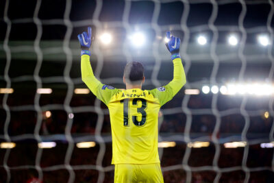 Liverpool's goalkeeper Alisson Becker prays before the UEFA Champions League Group C match between Liverpool FC and SSC Napoli at Anfield