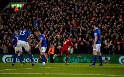 Liverpool's Georginio Wijnaldum celebrates after the fifth goal during the FA Premier League match between Liverpool FC and Everton FC, the 234th Merseyside Derby, at Anfield