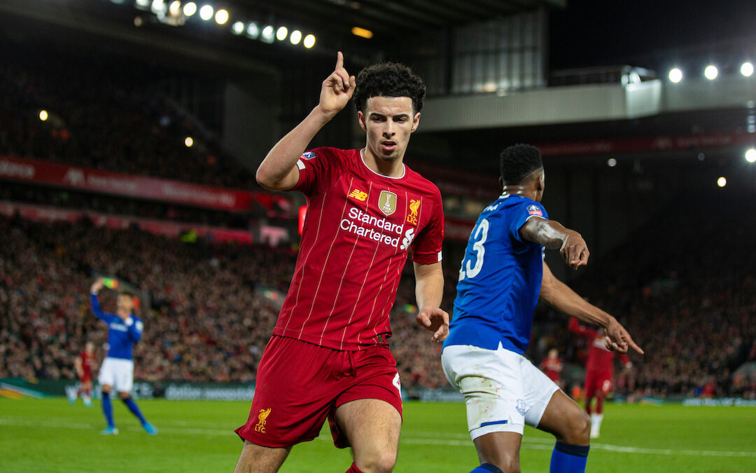Liverpool's match-winning goal-scorer Curtis Jones during the FA Cup 3rd Round match between Liverpool FC and Everton FC, the 235th Merseyside Derby, at Anfield. Liverpool won 1-0.