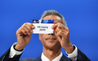 The card of RB Leipzig during the UEFA Champions League draw