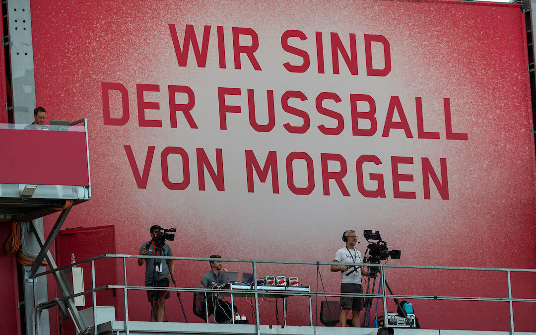 """""""We are the football of tomorrow"""" -Television camera operators during a preseason friendly match between FC Red Bull Salzburg and Liverpool FC at the Red Bull Arena"""