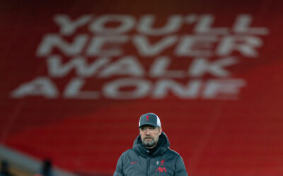 """You'll Never Walk Alone"".... Liverpool's manager Jürgen Klopp during the pre-match warm-up before the FA Premier League match between Liverpool FC and Leicester City FC at Anfield"