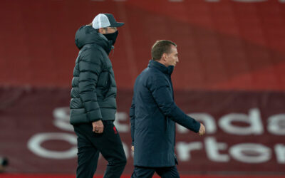Leicester City's manager Brendan Rodgers (R) and Liverpool's manager Jürgen Klopp after the FA Premier League match between Liverpool FC and Leicester City FC at Anfield
