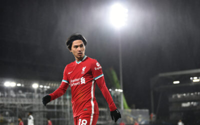 Liverpool's substitute Takumi Minamino during the FA Premier League match between Fulham FC and Liverpool FC at Craven Cottage