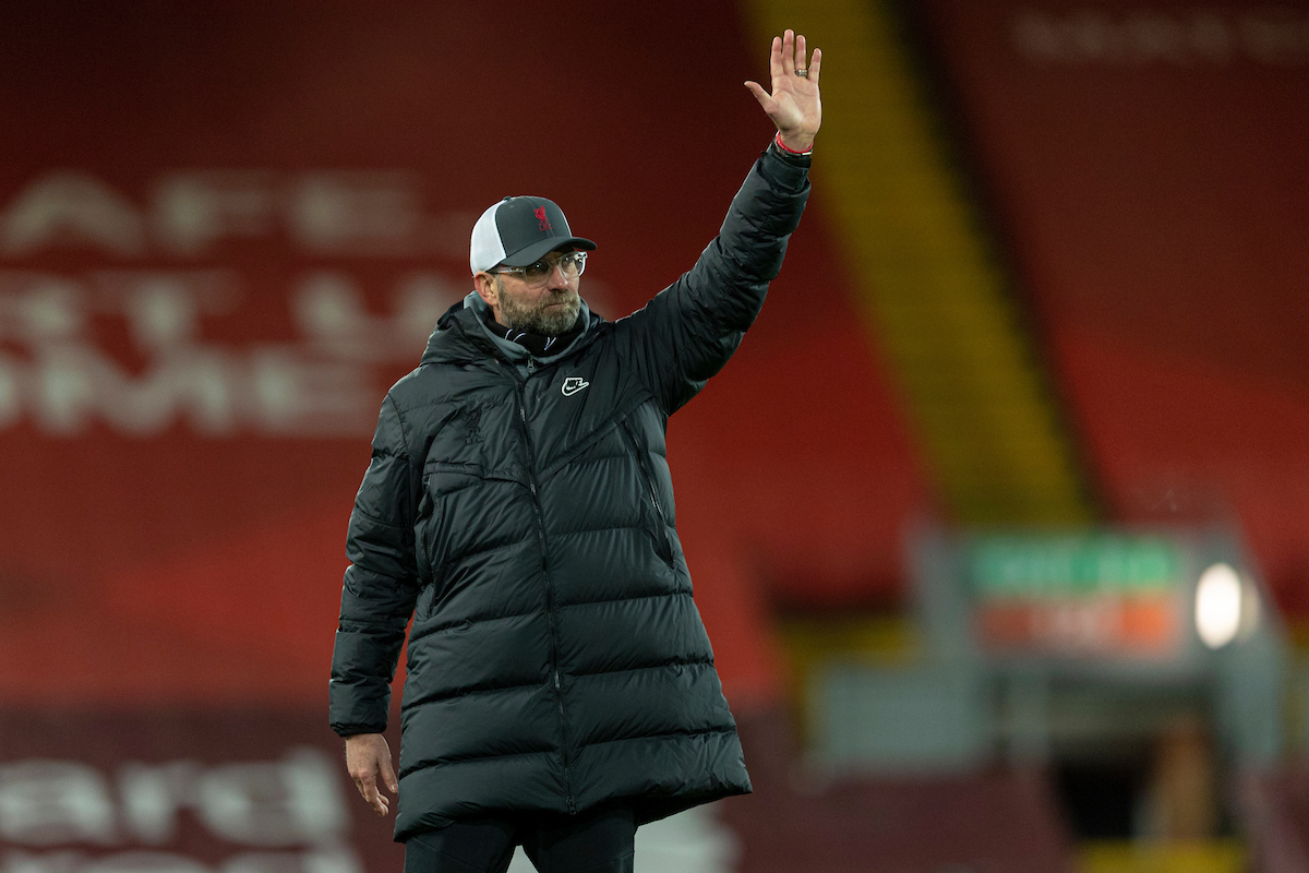 Liverpool's manager Jürgen Klopp waves to the supporters after the FA Premier League match between Liverpool FC and West Bromwich Albion FC at Anfield