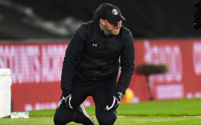 Southampton's manager Ralph Hasenhüttl collapses onto his knees in tears after beaing Liverpool 1-0 during the FA Premier League match between Southampton FC and Liverpool FC at St Mary's Stadium