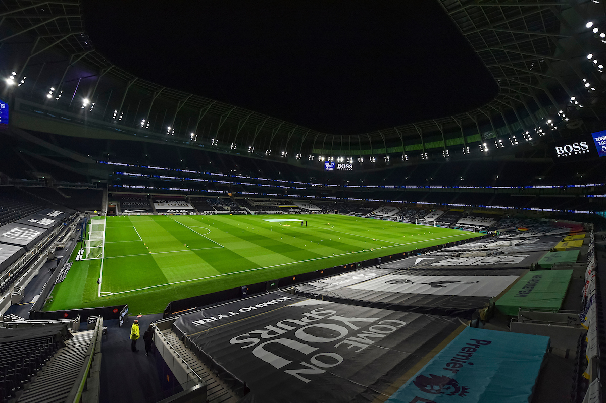 A general view of the Tottenham Hotspur Stadium before the FA Premier League match between Tottenham Hotspur FC and Liverpool FC at the Tottenham Hotspur Stadium