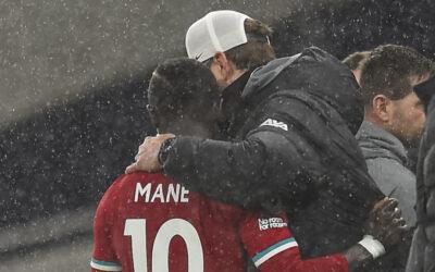 Liverpool's manager Jürgen Klopp embraces Sadio Mané after the FA Premier League match between Tottenham Hotspur FC and Liverpool FC at the Tottenham Hotspur Stadium