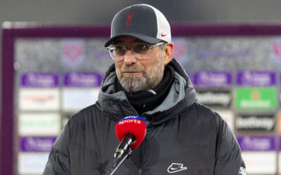 Liverpool's manager Jürgen Klopp gives a television interview after the FA Premier League match between West Ham United FC and Liverpool FC at the London Stadium