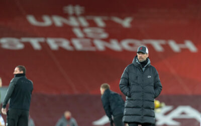 Liverpool's manager Jürgen Klopp during the pre-match warm-up before the FA Premier League match between Liverpool FC and Brighton & Hove Albion FC at Anfield