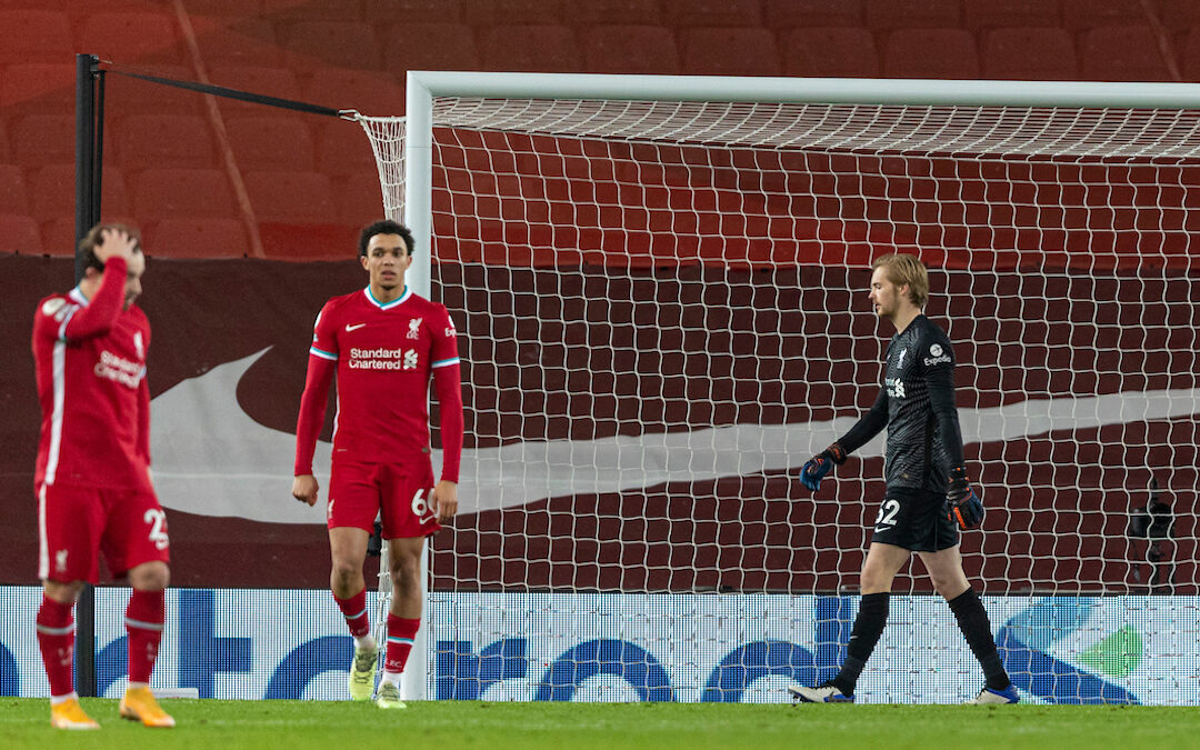 Liverpool's goalkeeper Caoimhin Kelleher looks dejected as Brighton & Hove Albion score the only goal of the game during the FA Premier League match between Liverpool FC and Brighton & Hove Albion FC at Anfield