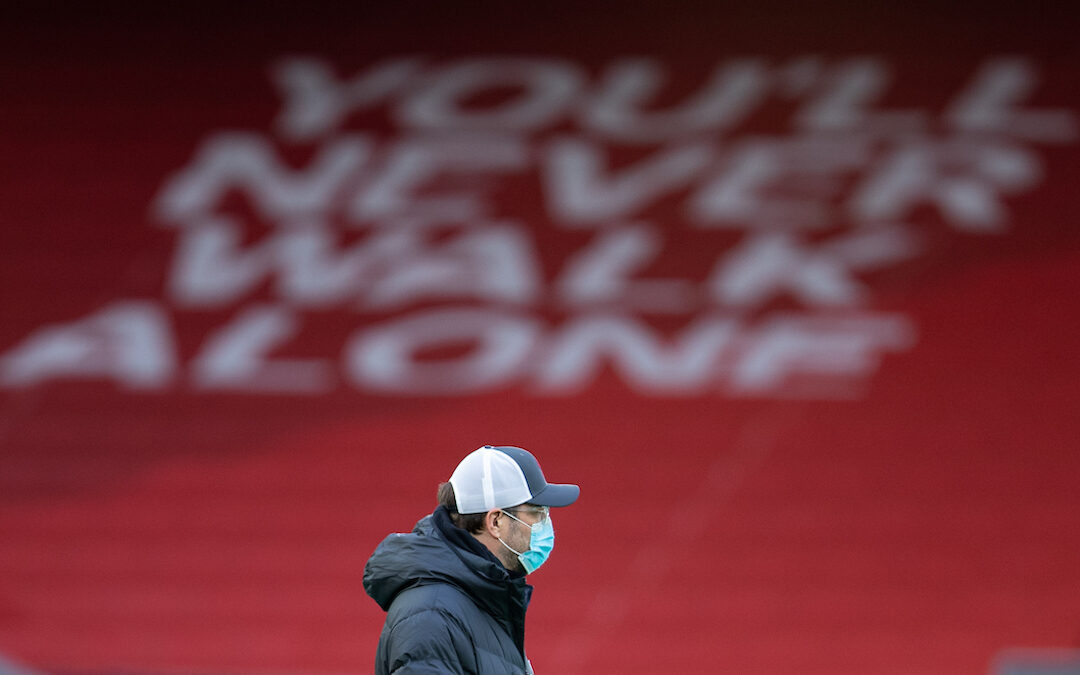 Liverpool's manager Jürgen Klopp during the pre-match warm-up before the FA Premier League match between Liverpool FC and Manchester City FC at Anfield
