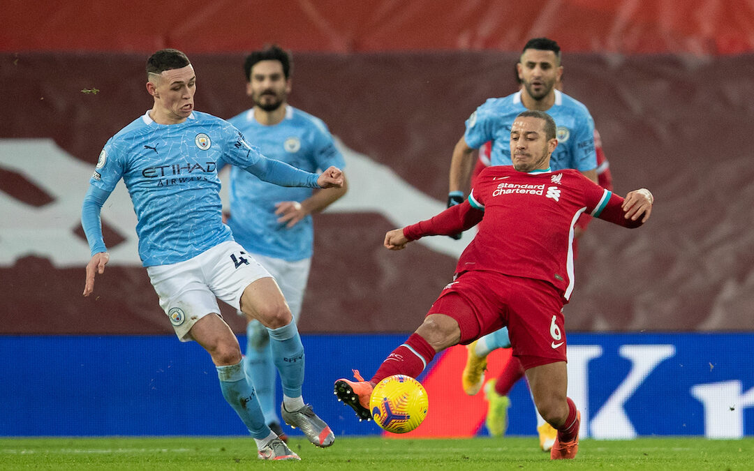 Liverpool's Thiago Alcantara (R) and Manchester City's Phil Foden during the FA Premier League match between Liverpool FC and Manchester City FC at Anfield