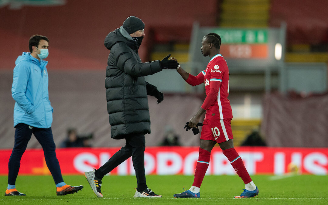 Liverpool's manager Jürgen Klopp and Sadio Mané after the FA Premier League match between Liverpool FC and Manchester City FC at Anfield