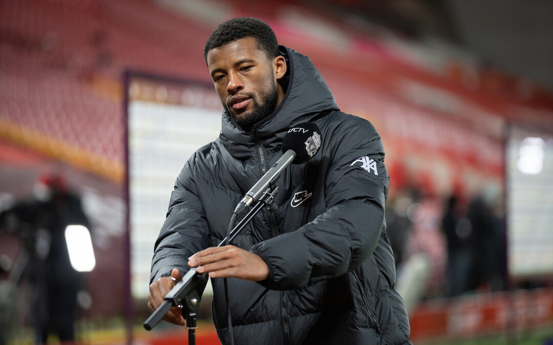 Liverpool's Georginio Wijnaldum is interviewed by LFCTV after the FA Premier League match between Liverpool FC and Manchester City FC at Anfield
