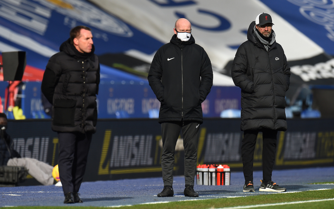 Liverpool's manager Jürgen Klopp (R) during the FA Premier League match between Leicester City FC and Liverpool FC at the King Power Stadium