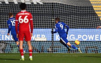 Leicester City's Jamie Vardy celebrates after scoring the second goal during the FA Premier League match between Leicester City FC and Liverpool FC at the King Power Stadium