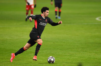 Liverpool's Curtis Jones during the UEFA Champions League Round of 16 1st Leg game between RB Leipzig and Liverpool FC at the Puskás Aréna