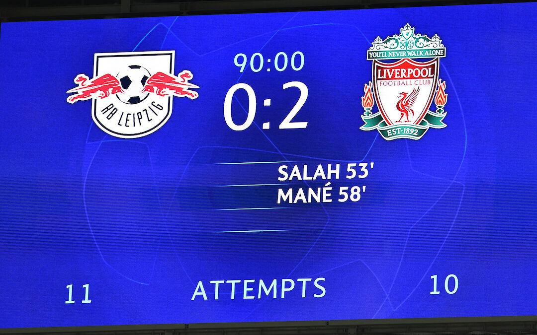 The scoreboard records Liverpool's 2-0 away victory during the UEFA Champions League Round of 16 1st Leg game between RB Leipzig and Liverpool FC at the Puskás Aréna